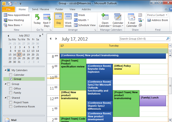 Workgroup Calendar - create, synchronize and manage a group calendar with  content merged from the chosen Microsoft Outlook Calendar folders including